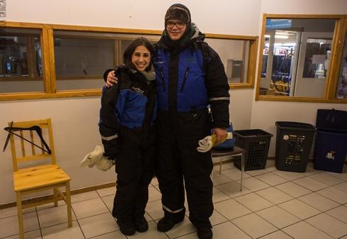 Essas são as roupas que tivemos que usar para ir à caça da aurora boreal